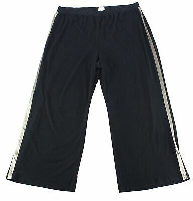 NY Collection Womens Black Size 1X Plus Gold Trim Pull On Pants Stretch $54 #113