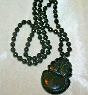 Vintage Chinese Black Onyx Carved Fruit Pendant Bead Necklace