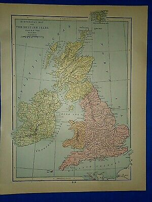 Vintage Historical Map ~ THE BRITISH ISLES SINCE A.D. 1066 ~ Printed in 1892