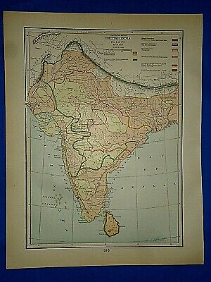 Vintage Historical Map ~ BRITISH INDIA SINCE A.D. 1751 ~ Printed in 1892