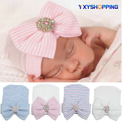 Baby Girls Boys Infant Colorful Striped Soft Cap Big Bowknot Beanie Knitted Hats