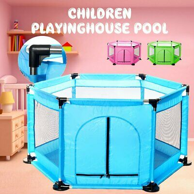 6 Sides Baby Playpen by Millhouse Round Zipper Door Play Pen for Toddlers