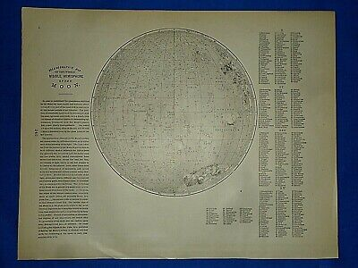 Vintage 1892 Map ~ VISIBLE HEMISPHERE of the MOON ~ Old Antique Original