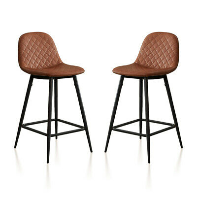 2 x Breakfast Bar Stools PU Leather High Counter Stool Chairs Home Kitchen Brown