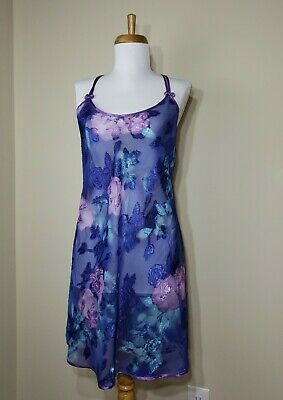 California Dynasty Nightie Chemise Purple & Blue Sheer Lingerie Floral Size M