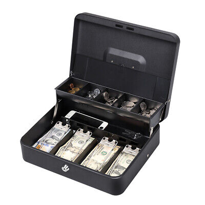 "Portable 11.8"" Cash Box with Money Tray Lock 5 Compartment Key Tiered"