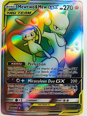 Pokemon Mewtwo & Mew Secret Rare GX Unified Minds 242/236 Rainbow Hyper Tag Team