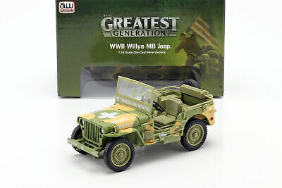 Willys MB Medical Jeep 4x4 US Army Baujahr 1941 camouflage 1:18 Autoworld