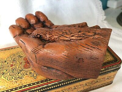 Folk Art Hand Carved Wooden Bird in Hand - Signed DEZ
