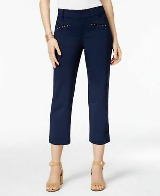 STYLE & CO Navy Blue Cotton Blend Riveted Capri Pants NWT 12