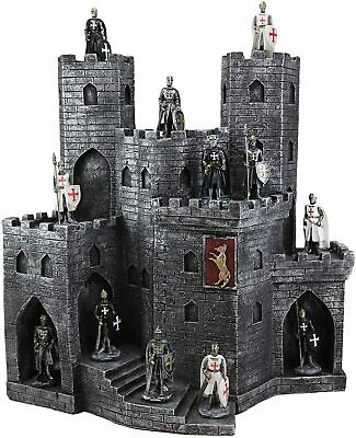 12 Miniature Medieval Crusader Knights And Castle Fortress Display Figurines Set