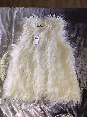 Hollister Waist Coat Gilet UK XS New Adult Woman Girls Cream FauxFur Body Warmer