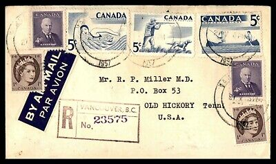 Canada Vancouver Bc May 27 1957 Registered Air Mail Cover To Old Hickory Tn Usa