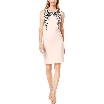 Calvin Klein Womens Pink Embellished Sleeveless Party Cocktail Dress 2 BHFO 4580