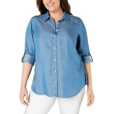 Charter Club Womens Blue Chambray Denim Jean Blouse Top Plus 2X BHFO 0966