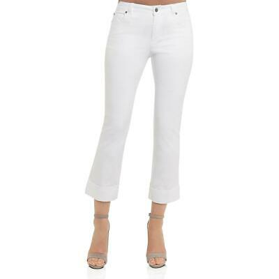 Foxcroft NYC Womens White Denim Mid-Rise Cuffed Cropped Pants 2 BHFO 5267