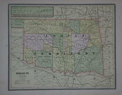1889 Indian Territory Antique Color Atlas Map** Original 131 years-old!