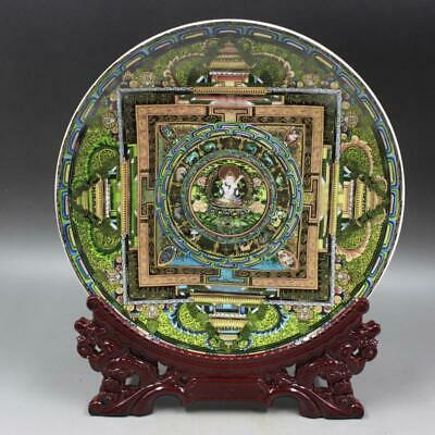 Chinese ancient antique hand make Enameled Western Bodhisattva Plate a12