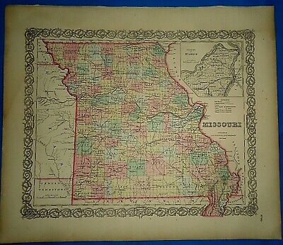 Vintage 1857 MAP ~ MISSOURI ~ Old Antique Original Colton's Atlas Map
