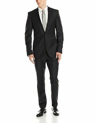 Kenneth Cole Mens Blazer Black Size 40 2 Piece Two-Button Notched $200- #538