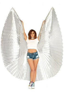 Pleated Silver Isis Wings Festival Costume Accessory - Genuine Leg Avenue NEW