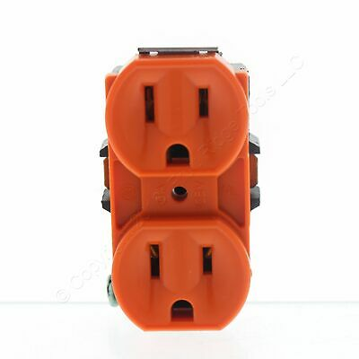 Leviton RESIDENTIAL Orange Duplex Receptacle Outlet 5-15R 15A 5248-OR NO STRAP