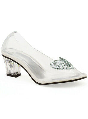 Cinderella Women's Clear Glass Look Costume Shoes Genuine - New