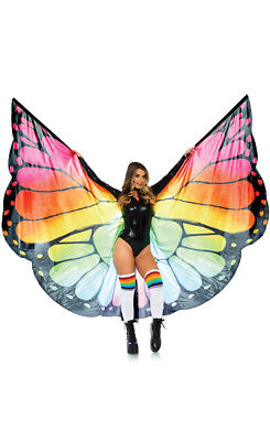 Rainbow Butterfly Wings Mardi Gras Costume Accessory - Genuine Leg Avenue - New