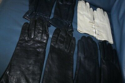 Vintage Gloves-4 Pairs White Black Navy Blue Size 7-Medium Quality Made Vgc