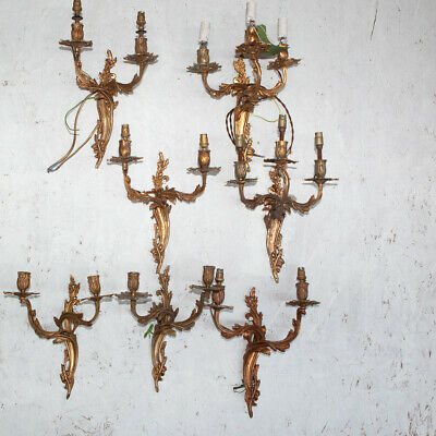 6 Cast Brass Louis Style Wall Sconces