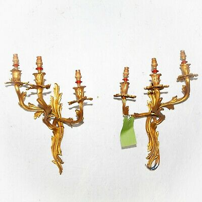Pair + 1 Louis XV style wall Sconces