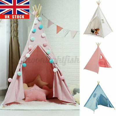 1.6m Large Cotton Teepee Kids Play Tent Boys Playhouse Wigwam Child Gift Girl UK