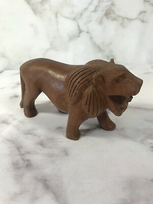 Vintage Hand Carved Dark Tiger Wood Roaring Lion Statue Figurine Table Top Decor