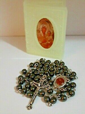 Black Hematite Jerusalem Rosary made in the holy Land With Blessed Soil with box