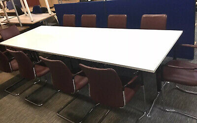 White Boardroom Table And 10 Boardroom Chairs