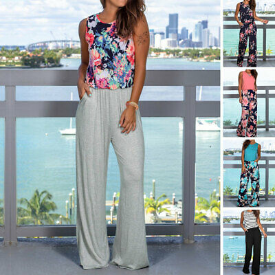 Womens Casual Jumpsuit Print Floral Summer Beach Wide Leg Holiday Long Playsuit
