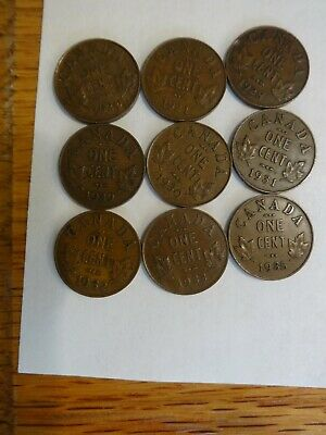 1920-1935 Canada 1 Cent Coins - 9 different dates XF/VF/ F - George V