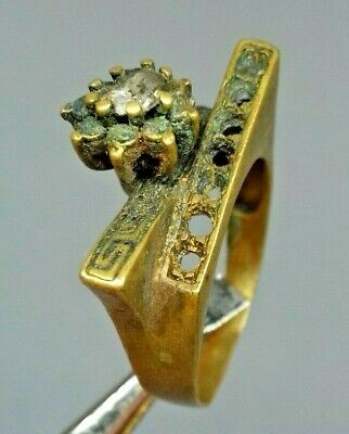 Ancient Rare Ring Bronze Roman With Stone Old Authentic Artifact