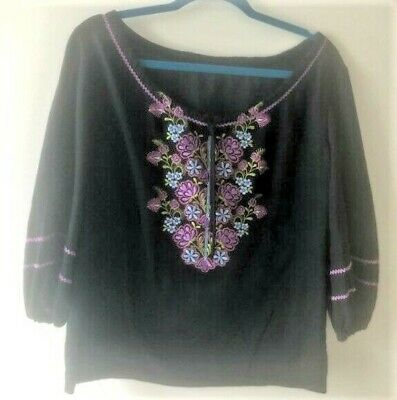 Vintage FRIDA Inspired Embroidered Mexican Black Blouse Oaxaca Peasant Top~40