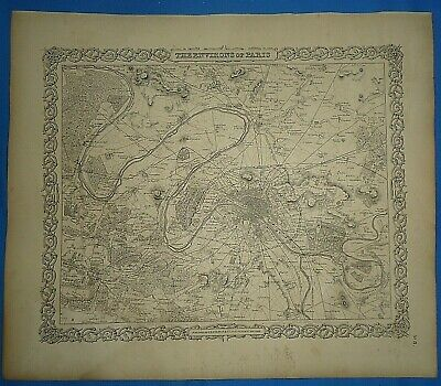Vintage 1857 MAP ~ PARIS, FRANCE ~ Old Antique Original Colton's Atlas Map