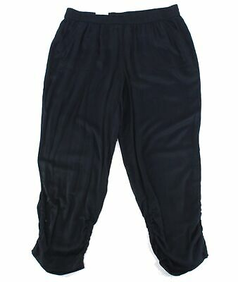 Style & Co. Womens Pants Black Size 20W Plus Tapered Leg Ruched Stretch $59 #073