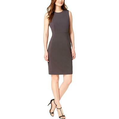 Calvin Klein Womens Gray Sleeveless Crepe Sheath Dress Petites 0P BHFO 6349