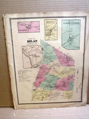 1867 Town & Villlage Maps Milan, Dutchess Co. Ny Beers Atlas Hand Colored
