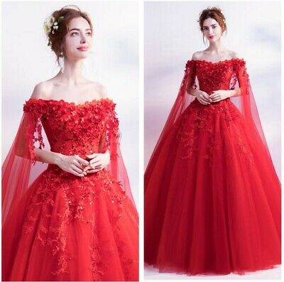Red Women Wedding Evening Formal Trailing Dress Floral Ball Gown Cocktail Luxury
