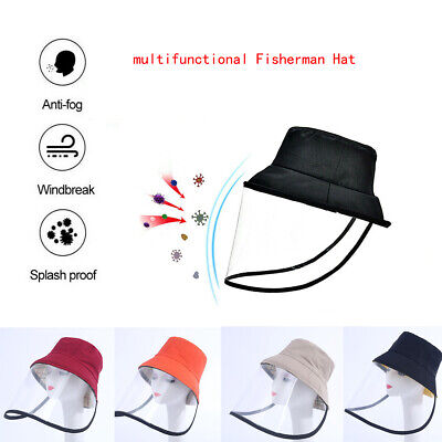 New Adults Anti-fog Protection Fisherman Hat Dust-proof Cap w/ Face Shield Cover