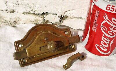 c1905 ANTIQUE RECLAIMED BRASS WC VACANT ENGAGED PRIVACY LOCK HANDLE ONLY + KEEP