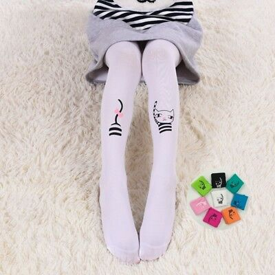 Kids Girls Lovely Cat Striped Stretchable Tights Pantyhose Dancing Socks