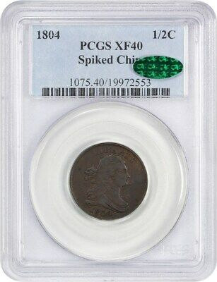 1804 1/2c PCGS/CAC XF40 (Spiked Chin) - Draped Bust Half Cents (1800-1808)