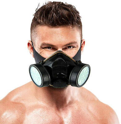 Emergency Survival Safety Respiratory Gas Mask & 2 Dual Protection Filter