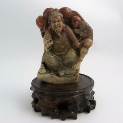 Antique Chinese Soapstone Boulder Carving Of A Figure Of Shou Lao